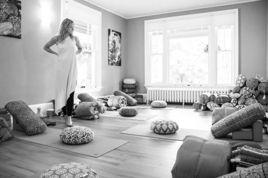 Stephanie in the yoga studio